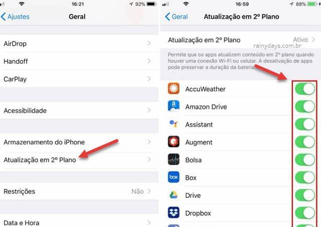 Desativar as atualizações em segundo plano economiza muita bateria de seu iPhone