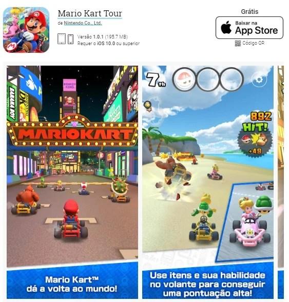 Instalando Mario Kart Tour em dispositivos iOS.
