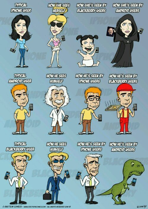 wpid c section comics iphone vs android vs - Humor: iPhones vs. Androids vs. Blackberries
