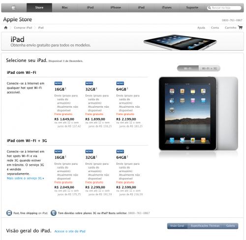 Captura de tela 2010 12 01 às 21.43.33 500x488 - Página sobre o iPad já está no ar na Apple Store Brasil