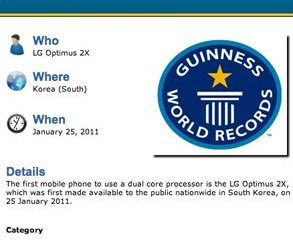 LG Optimus 2X Guinness Book - LG Optimus 2x no Guinness Book