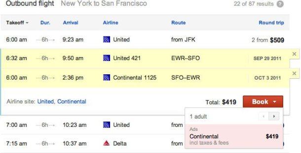 google flight search 610x311 - Flight Search, a nova pesquisa do Google especializada em vôos