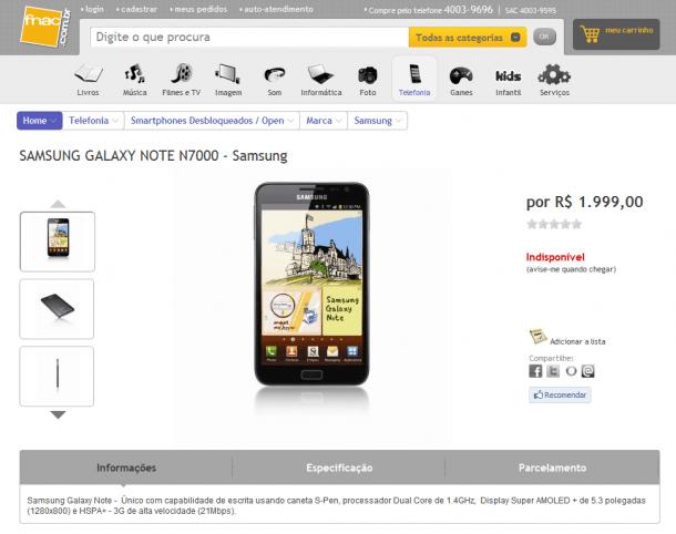 galaxynotebr 610x482 - Galaxy Note aparece no site da Fnac Brasil