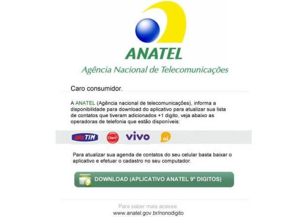 Falso email supostamente enviado pela Anatel