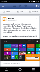 Feed Inicial no Facebook Beta