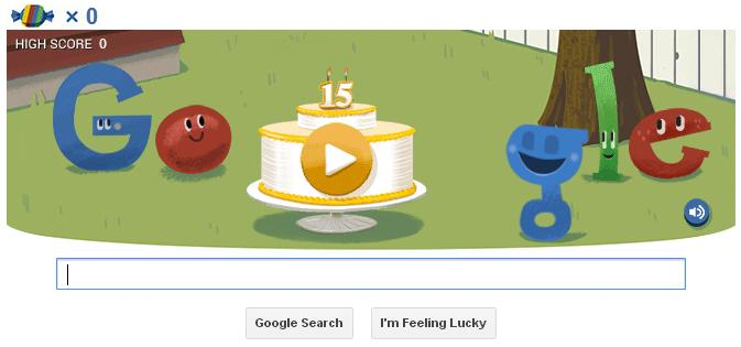 Google 15 Anos doodle