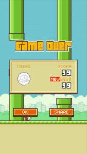 Flappy Bird Game Over 169x300 - A incrível história de ascenção e queda do jogo Flappy Bird