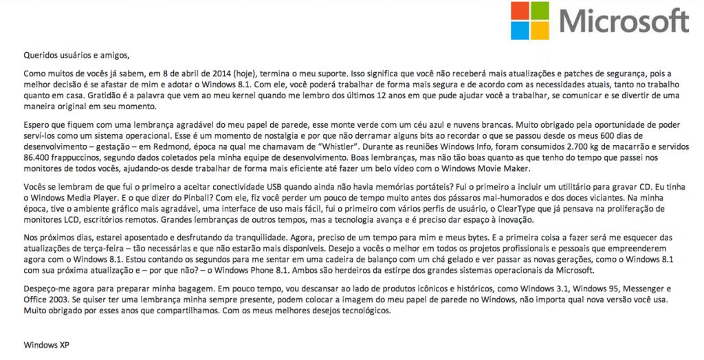 Carta de despedida do Windows XP divulgada pela Microsoft / reprodução