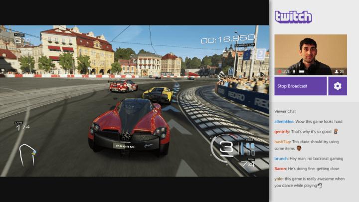 Transmissão de partidas no Xbox One via Twitch. O serviço também suporta o PlayStation 4 e PCs.