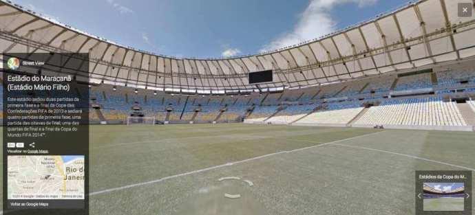 Tour virtual pelo estádio do Maracanã, no Rio de Janeiro / reprodução Google