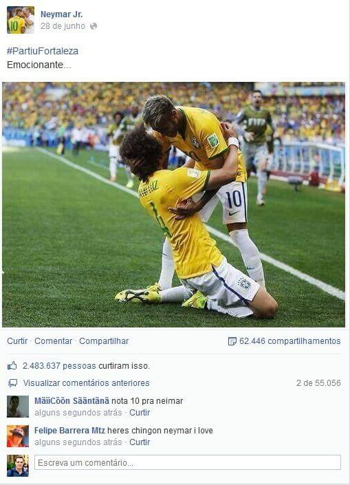 Foto de Neymar no Facebook é curtida mais de 2 milhões de vezes