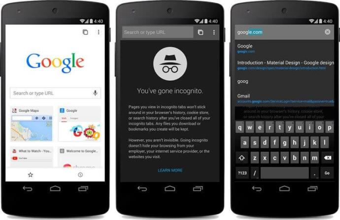 Google Chrome Beta Android L Material Design