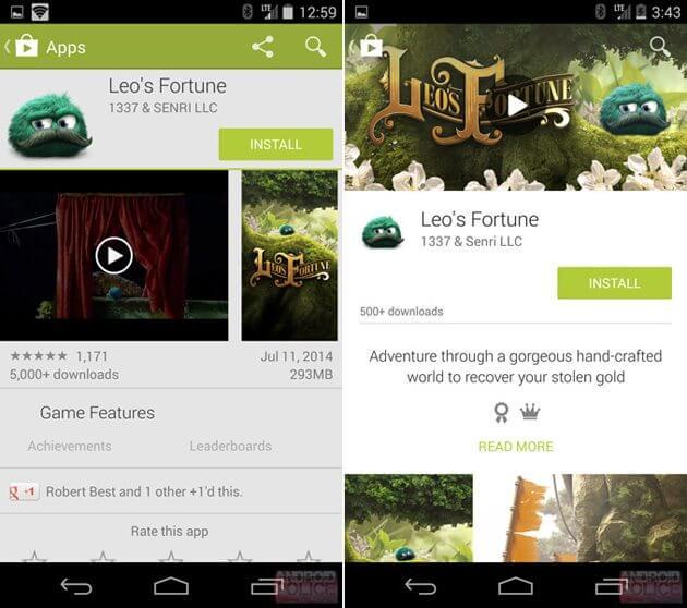 updatedplaystorephoneaam Android L Material Design - Google Play Store ganha atualização com novo visual