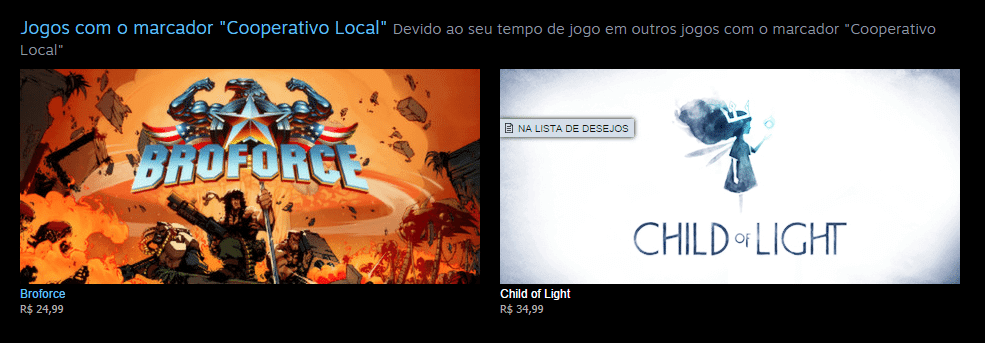 Recomendação Steam - Coop Local