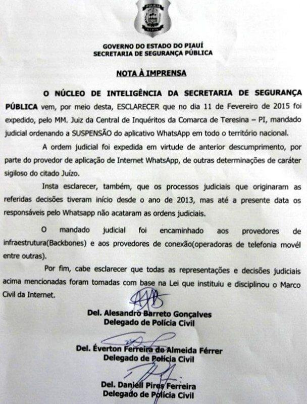 nota whatts - Juiz pede a suspensão do WhatsApp em todo Brasil