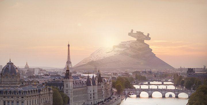 Um Star Destroyer Imperial em Paris (imagem: Nicolas Amiard/Behance)