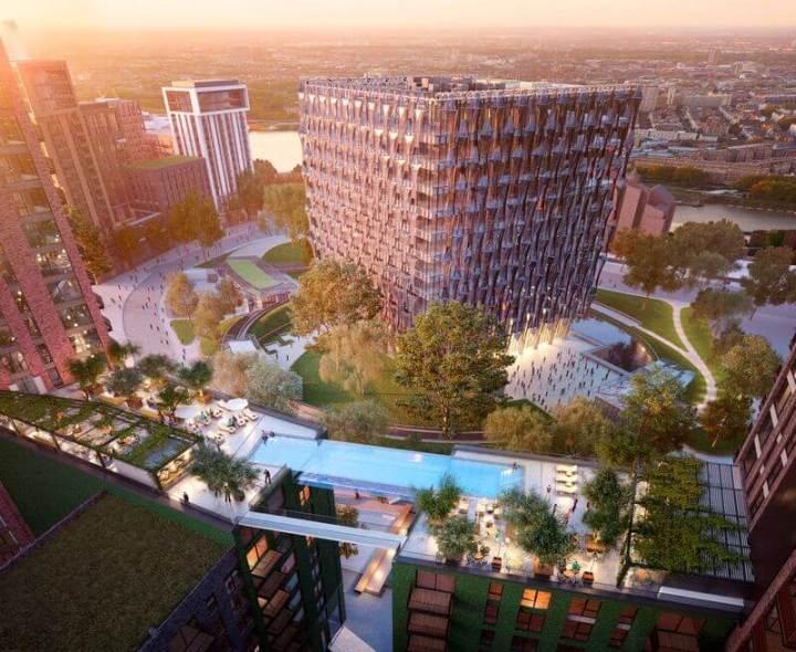 """sky pool1  med res  0 720x590 - Arquitetos britânicos desenvolvem a primeira """"piscina suspensa"""" do mundo"""