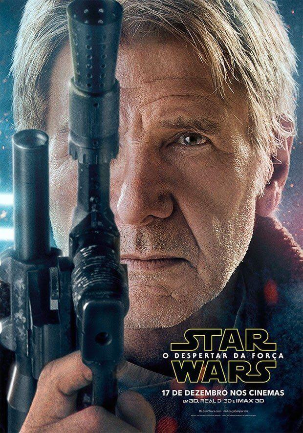 Han Solo (Harrison Ford) empunha sua tradicional pistola no pôster de Star Wars VII