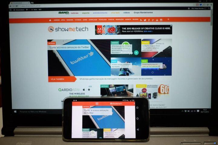Telas de monitor calibrado e Nexus 6P em sRGB