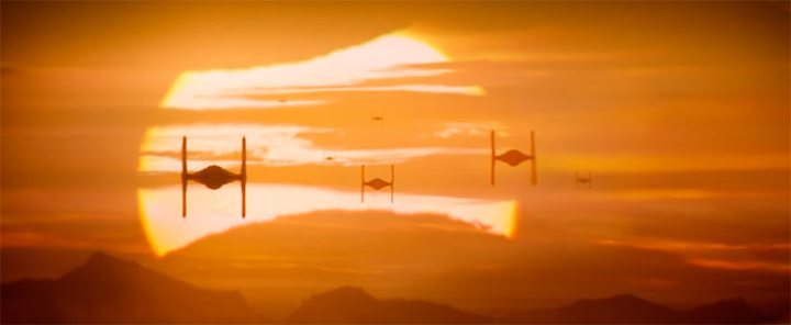 Trailer de Star Wars o despertar da Força - TIE fighters ao por do sol