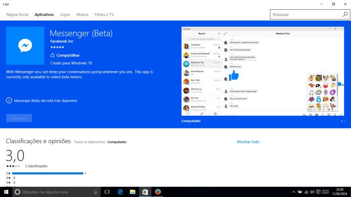 fb messenger beta indisponivel 720x405 - Facebook publica Messenger (Beta) na Windows Store, mas não libera download no Brasil