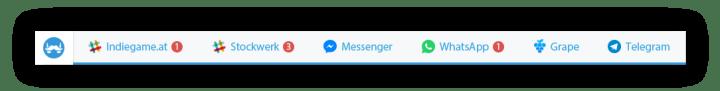 franz tabbar 720x91 - Franz é um app que junta WhatsApp, Telegram, Messenger, Slack e Hangouts em um só