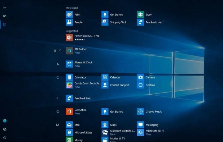 Nova Tela Inicial do Windows 10, em tela cheia, para tela sensíveis ao toque
