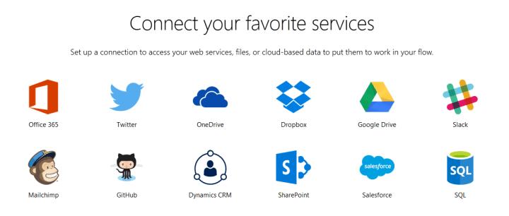 Alguns dos serviços disponíveis no Microsoft Flow