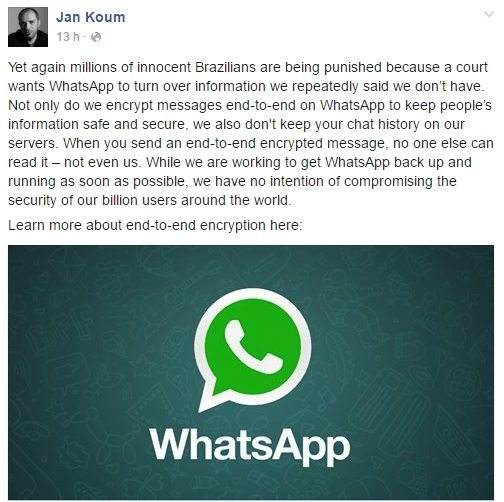 Jam Koum, fala sobre WhatsApp bloqueado no Brasil - WhatsApp liberado