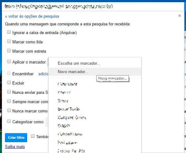 passo 4 - Tutorial: Como filtrar mensagens no Gmail