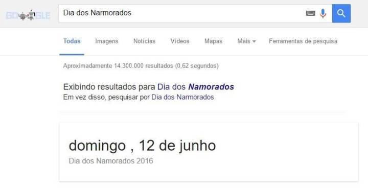 Google erra no Doodle do Dia dos narmorados