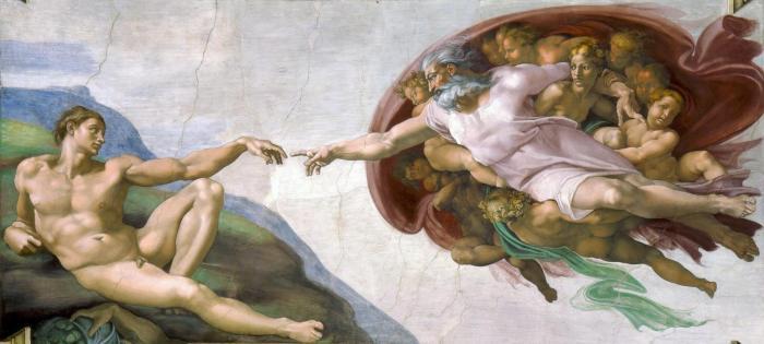 A Criação de Adão, afresco pintado por Michelangelo que fica no teto da Capela Sistina