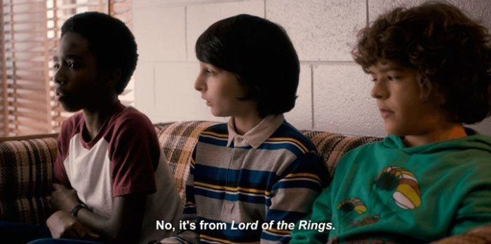 """referências de """"Stranger Things"""" - O Hobbit e LORT"""