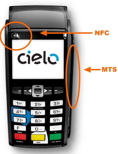 Duas opções: a área de NFC costuma ficar no topo da máquina, enquanto o MTS fica na área do cartão tradicional.
