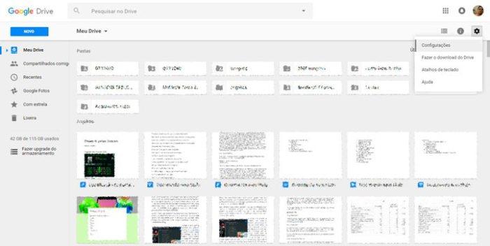 Acessar as configurações do Google Drive