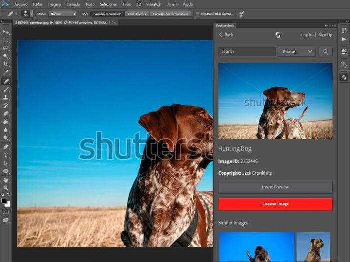 Plugin Shutterstock para Photoshop