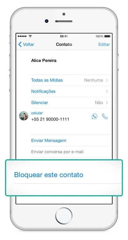 como bloquear contatos do WhatsApp no iPhone