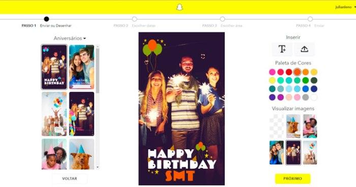filtro geográfico sob demanda no Snapchat