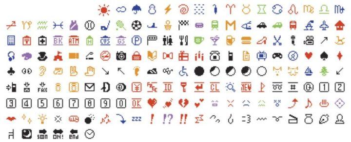 Primeiros 172 emojis de 1999 720x293 - De onde vêm os emojis? História curiosa envolve o Japão e Steve Jobs