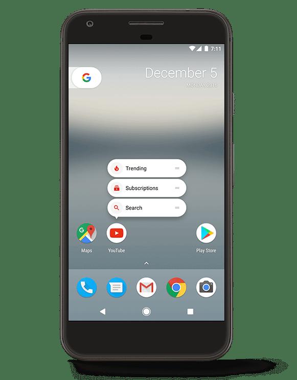 atalhos na tela inicial - Google libera Android 7.1.1 para linha Nexus