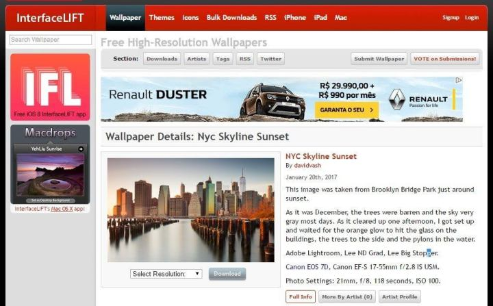 Interfacelift 720x447 - 10 sites e aplicativos para quem precisa de Papéis de Parede no computador