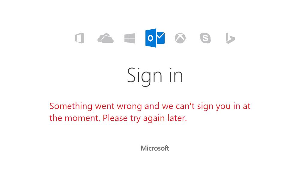 microsoft account error - Serviços da Microsoft estão offline hoje