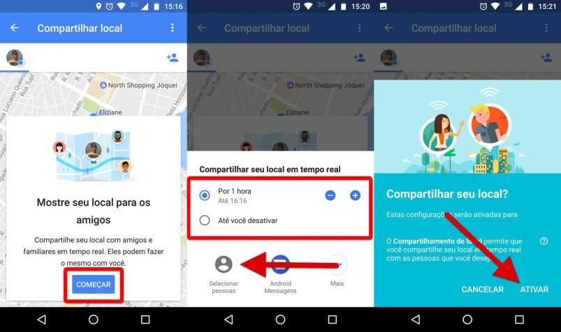 Ativando o Compartilhamento de localização em tempo real