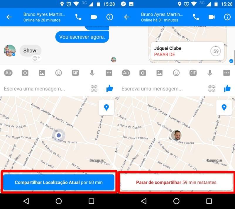 Compartilhando a localização em tempo real no Facebook Messenger