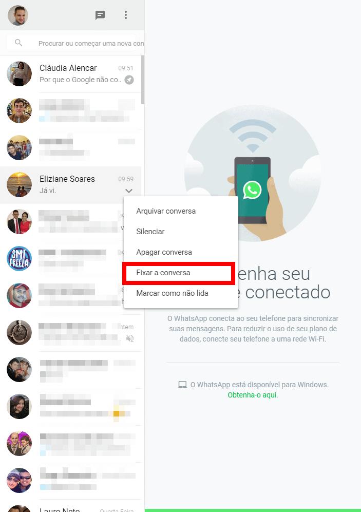 Fixando conversas no WhatsApp Web