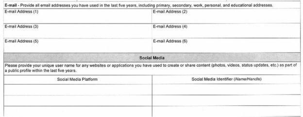 Esse é o trecho de e-mail e redes sociais do novo formulário para visto americano