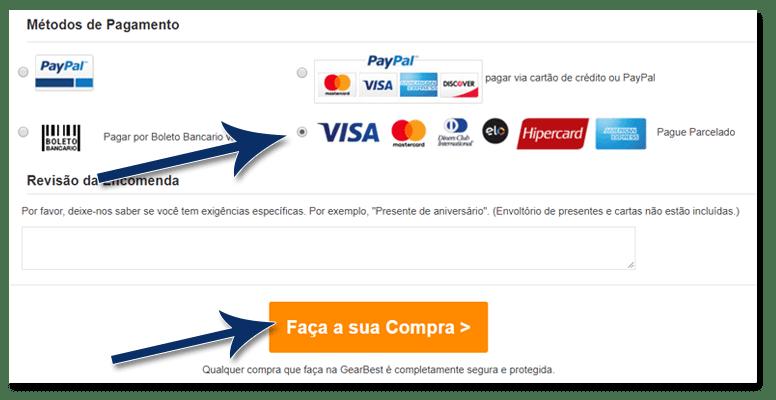 07 gearbest escolha pagar parcelado - Tutorial: Como parcelar suas compras na GearBest, sem juros