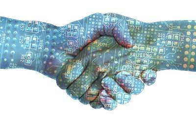 mãos aperto blockchain tecnologia