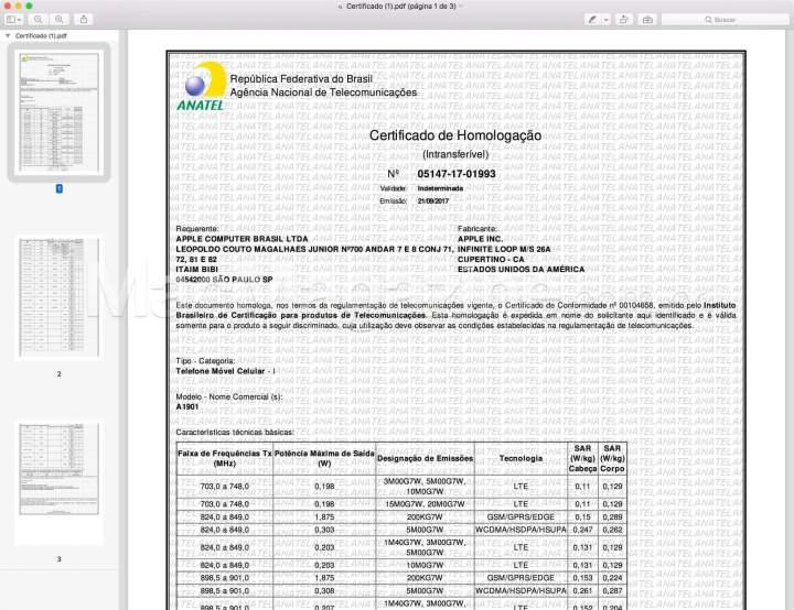 Documento 3 720x554 - iPhone 8, 8 Plus e X são homologados e já podem ser lançados no Brasil