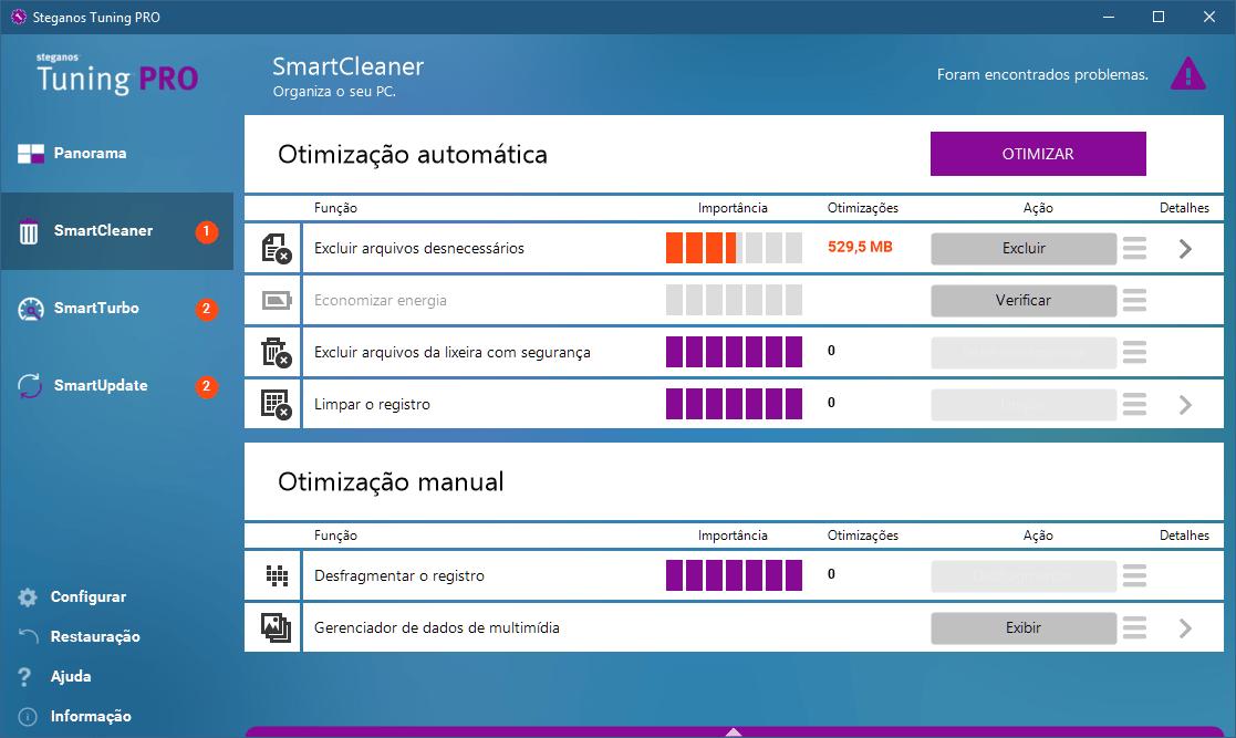 smartcleaner01 - Análise: Steganos Tuning PRO é bom para a limpeza do PC?